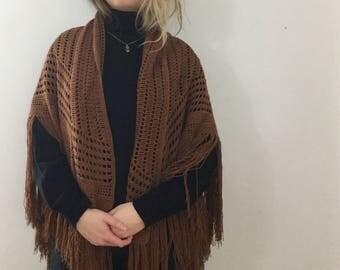 Beautiful Vintage Brown Crocheted Shawl