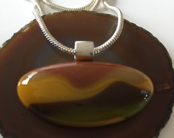 Glass-fusing glass pendant-jewelry-handmade-art glass-birthday-gift-pendant-necklace-ring-glass art-Spectrum glass in Brown shades