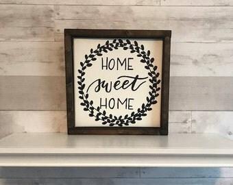 home sweet home wood framed sign