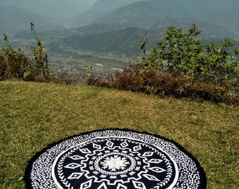 Roundie - Black and White Aztec (hand made) - Boho Tapestry, hippie beach cloth