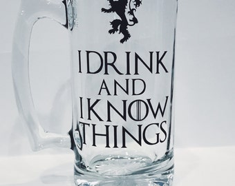 Game of Thrones Beer Mug, I Drink and I Know Things, Game of Thrones gift, Game of Thrones mug, House Lannister
