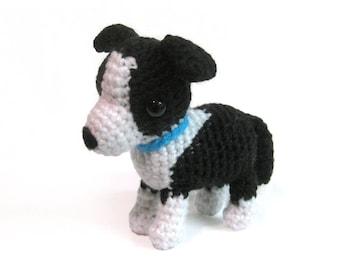 Crochet Amigurumi Cute Black White Border Collie Dog Stuffed Animal Plush Toy Handmade
