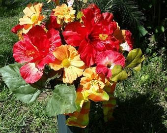 Tropical look, Grave flowers,  Cemetery flowers, Arrangement