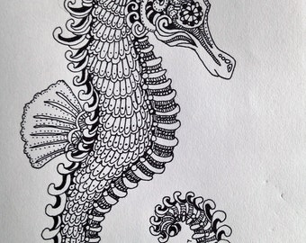 Sea Horse drawing in Black and White
