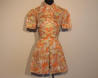 Vintage 1960's Hot Pants with Giraffe Print; 60's Summer Dress XS