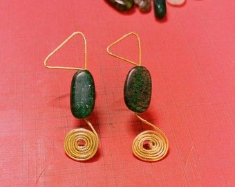 Pebble Green wired earrings