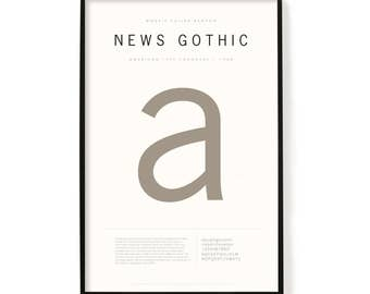"News Gothic Poster, Screen Printed, Archival Quality, Wall Art, Poster, Designer Gift, Typography Print, 24"" x 36"""
