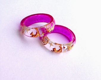 Pink Resin Rings, Gift For Her, Minimalist Rings, Love Ring, Resin Jewelry, Cat Ring, Stackable Rings, Cat Jewelry Kitty Jewelry, Cat Lovers