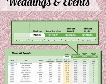 Floral Order Spreadsheet for Weddings & Events