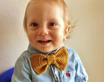 Knit Child's Bow Tie; birthday, baby shower, gift for him, gift for child, gift for baby