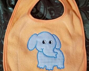 Orange Appliqued Baby Bib with Blue Gingham Elephant