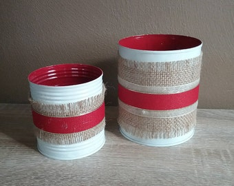 Tin Can Rustic Country Wedding Decor, white painted with red ribbon