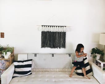 SALE - Black & white striped large tapestry with tassels