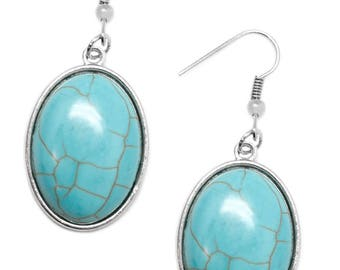 NEW Turquoise Blue Stone Silver Earrings