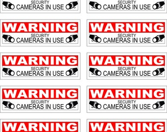 Pack of 12 Security Decals / Stickers Camera in use Warning CCTV