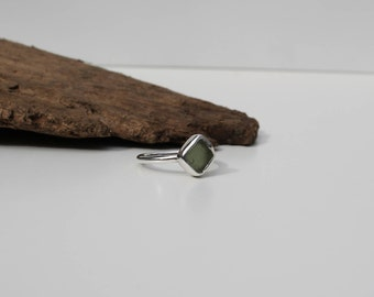 Olive green sea glass and silver ring