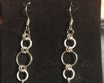 Silver and gray dangle earrings