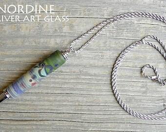 Handmade Art Glass Reversible Seam Ripper Necklace . Green Blue Purple . Lampwork . Julie Nordine . Credit River Art Glass . SR117