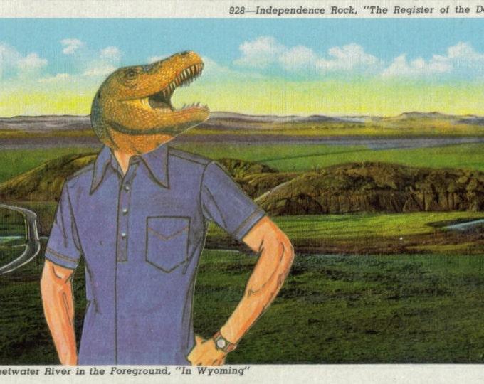 Anthropomorphic Dinosaur Art Collage, Dino in Clothes