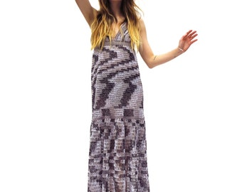 Made to Order - Halter Maxi Dress in Smoke - Handmade Crochet Mesh Gown - Free US Shipping