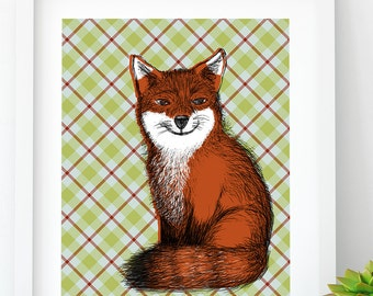 Woodland Fox PRINTABLE, Animal Art, Cabin Wall Art, Cabin home decor, Printable Fox, Download, nursery art, 2017 trends, plaid animal art