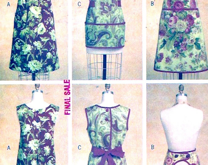 Waverley full aprons 3 styles Chic baking Moms chefs sewing pattern Butterick 5263 Size Sm to LG UNCUT