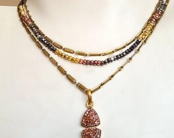 Vintage Brass Chain Wrap Around Rose Gold Druzy Necklace, Tribal Jewelry, Boho Edgy Jewelry, Edgy Necklace, Rock Chic, Rose Gold Jewelry