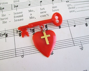 Vintage Plastic Key, Heart, and Cross Lapel Pin