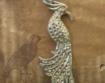 lovebird ~ antique rhinestone bird pearl gemstone heart spring necklace