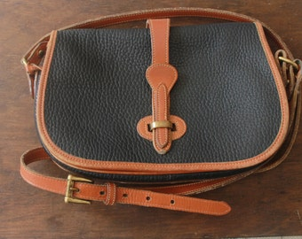 Dooney and Bourke Bag / Distressed Pebbled Leather Handbag / Black Leather Saddle Bag