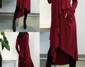 Music Flows - Burgundy Extravegant Tunic dress / Thumbhole maxi Blouse / Long Sleeve dress Asymmetric Kaftan / Asymmetric Maxi dress (Q1712)