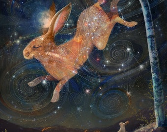Brother in the Sky - 11X14 print | Hare art, hare painting, jack rabbit and moon, animal connection, starry sky pagan art  | by Meluseena