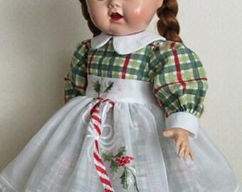 "For 16"" Saucy Walker - A Festive Holiday/Christmas Dress, Hankie Apron & Little Hat"