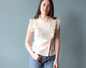cream lace trim top | 80s sleeveless ruffle blouse | small