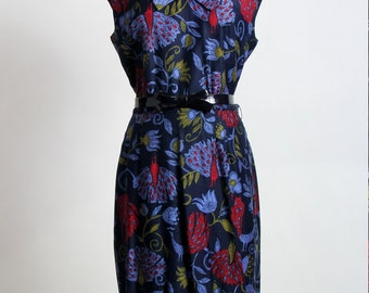 SALE- PEACOCK Print Dress Bow Belt