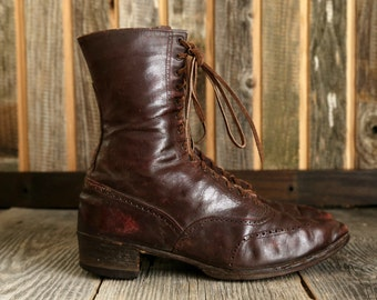 SALE- Antique Victorian Shoes . Brown Leather Ankle Boots
