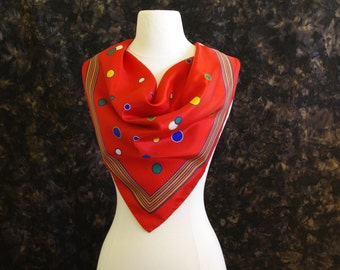 Vintage red rain scarf Water repellent Scotchguard Red scarf with Gold Blue Green White Circle design