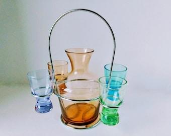 Mid Century Barware, Decanter Set with Shot Glasses Art Deco Cordial After Dinner Liqueur Set, Liquor Drink Set Chrome Holder Stand