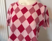 Vintage Cashmere Sweater Printed Harlequin Diamond Argyle Pattern Pullover Pink Short Sleeves Size M Medium to L large Cashmere Sweater