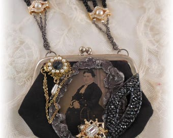 Tin Type Vintage Coin Purse Necklace