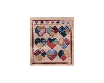Vintage Cross Stitch Kit Crazy Quilt Hearts on Linen 8 x 9 Patchwork Picture to Embroider Fabric Floss Pattern Better Homes and Gardens Kit