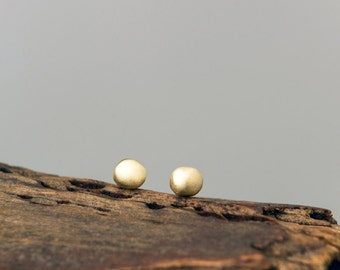 Extra Tiny Solid Gold Pebble Earrings Solid Rose Gold Dot Earrings 14k solid gold Simple Earrings minimal studs womens gift for her