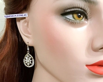 Gatsby Wedding Earrings, Art Deco Wedding Jewelry, Crystal Bridesmaid Earrings, Gold Bridal Earrings, Silver Earrings, Bridal Jewelry DECORA