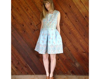 Floral Printed Boho Apron Circle Dress - Vintage 60s - S