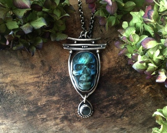 skull necklace, sterling silver and labradorite skull, statement necklace, goth jewelry, skull jewelry, OOAK, ready to ship