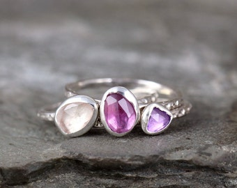 Set of Three Sapphire Stacking Ring Set- Trio of Colored Gemstone Rings -Sterling Silver - September Birthstone Ring - Orchid Color Gems