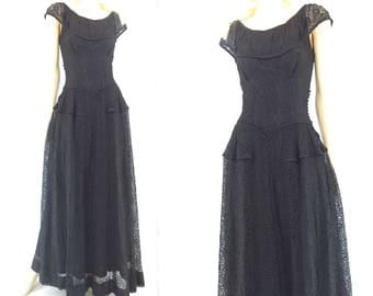1940s Dress 40s Black Lace Dress Semi Formal Dress Black Maxi Dress Lace Party Dress 40s Evening Dress Lace Maxi Dress 40s Formal Dress xs