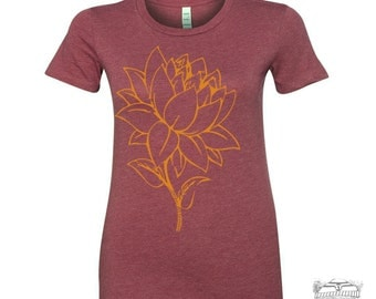 Womens Custom LOTUS FLOWER hand screen printed s m l xl xxl (+ Colors Available)