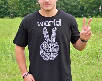 4th of July, Mens Tshirt, Peace shirt, printed, World Peace, peace sign shirt, boyfriend gift, graphic tee, man gift, gift for dad