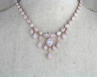 Rose gold necklace, Wedding jewelry, Statement necklace, Bridal necklace, Crystal necklace, Bridesmaid necklace, Bridal jewelry Vintage glam